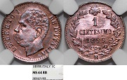 World Coins - Italy. Kingdom. Umberto I (1878-1900). CU 1 Centesime 1899R. NGC MS64 RB