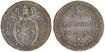 World Coins - Italian Papal States. Rome. Pope Pius VI (1775-1799). AE 2  Baiocchi Romani 1787. Nice Choice Very Fine