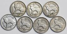 Ireland. Lot of 6 Coins: 3 pence 1940-1963 . XF-AU