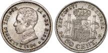 World Coins - Spain. AR 50 Cents 1904.Choice XF, toned