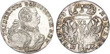 World Coins - Germany. Kingdom of Brandenburg-Prussia. East Prussia. Frederic II The (1740-1786). AR 6 Groschen 1756 E. Choice XF.