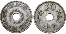 British Administration. Palestine. CuNi 20 Mils 1927. VF+.