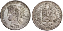 Peru. Republic. Silver Scarce 5 Pesetas 1880 B. Choice XF, toned