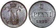 World Coins - Imperial Russia. Finland. Tzar Nicolas II. AE 1 Penni 1903 (Rare Large 3 type). Choice AU