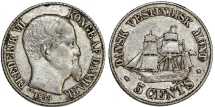 Danish West Indies. Frederik VII. AR 5 Cents 1859. Choice XF