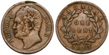 World Coins - Malaya Archipelago: Sarawak. James Brooke. Rajah (1841-1868). Cu Cent 1863. VF