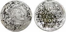 World Coins - Poland. Rzeczypospolita. Olkusz. king Sigismund III. AR 3 Gross 1590. About VF