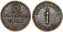World Coins - Papal Italian States. Ancona. Papale (Stato pontificio). Second Roman Republic (1848-1849) CU Baiocco 1849A. VF