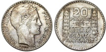 World Coins - France. Republic. Silver 20 Francs 1933. Choice AU