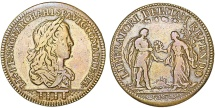 "World Coins - France. Luis XIV ""The Sun"" Brass Jeton ""Spanish War Tax"" ND ( c. 1684). aVF"