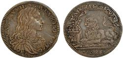 World Coins - Italy. Naples under Spain. Charles II. AR Carlino (10-Grana) 1685. Choice VF, toned