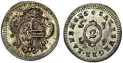 World Coins - Salzburg. Sigismund III. von Schrattenbach (1753-1771) . AR 2 Kreuzer (1/2  Batzen) 1759. Choice AU