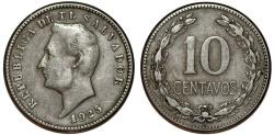 World Coins - El Salvador. Republic. CU-NI 10 Centavos 1925. Choice VF