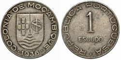 World Coins - Mozambique as Portuguese Colony. CuNi RARE 1 Escudo 1936. Choice VF