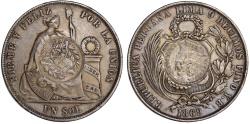 World Coins - Republic of Guatemala. AR Peso 1894 H struck on Peru 1869 UN Sol. XF, toned