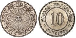 World Coins - Peru. CU-NI 10 Centavos 1879. Choice AU