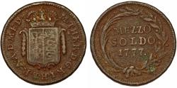 World Coins - Italy. Milan. Austrian occupation period. Empress. M. Theresa. Cu Mezzo Soldo 1777. aVF