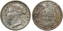 World Coins - British Honduras (Belize). Empress Victoria. AR 10 Cents 1894. VF+, Toned.