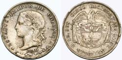 World Coins - Colombia. Medellin mint. AR 50 Decimos 1880. Choice VF, toned. scarce
