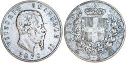 World Coins - Kingdom of Italy. Vittorio Emanuellle II. Very Nice AR 5 Lire 1870R. Fine+