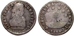 World Coins - Bolivia. Republic. La Paz. AR 1/2 Sol 1830 P. Fine