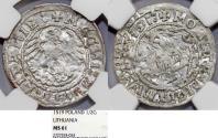 World Coins - Lithuania. (Poland) Sigismund I Jagiello (1506-1546). Silver Half Gross 1519. NGC MS61, Double Strike error.