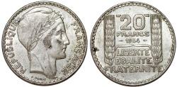 World Coins - France. Republic. Silver 20 Francs 1934. CHOICE XF
