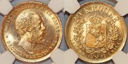 World Coins - Norway under Sweden. Oscar II (1872-1907). Gold 20 Kroner 1902. NGC MS64