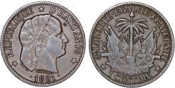 World Coins - Republic of Haiti , SINCE 1863. AE 1 Cent AN78 (1881). VF