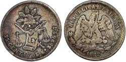 World Coins - Republic of Mexico. AR 25 Centavos 1882 Go-S. Toned Choice VF