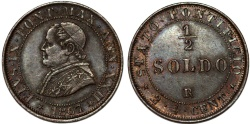 World Coins - Italy. Papal State. Pope Pius IX (1846-1878). Cu 1/2 Soldo 1867R (year XXI). Nice XF