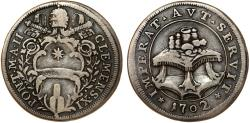 World Coins - Papal States. Rome. Clemente XI (1700-1721). AR Testone 1702 (Anno II). VF+, toned