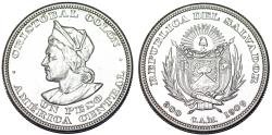 World Coins - Republic of El Salvador. Silver Peso 1909 CAM. Choice AU