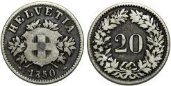 World Coins - Switzerland. Federation. BI 20 Rappen 1850BB. AVF, first date issue