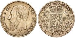 World Coins - Belgium. Leopold II (1865-1909). Silver 5 Francs 1873. VF+
