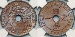 World Coins - French Indo-China. Colonial AE 1 Cent 1902 A. NGC MS62 BN