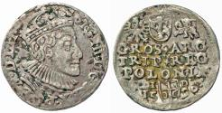 World Coins - Poland. Rzeczypospolita. Olkusz. king Sigismund III. AR 3 Gross 1590. About VF