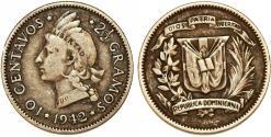 World Coins - Dominican Republic. AR 10 Centavos 1942. XF