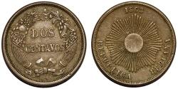 World Coins - Peru. Republic. AE 2 Centavos 1863. XF