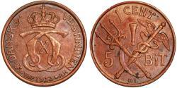 World Coins - Danish West Indies. Christian IX. AE 1 Cents (5 Bits) 1913. Choice AU