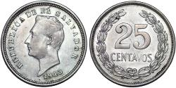 World Coins - El Salvador. Republic. Silver 25 Centavos 1943.  XF