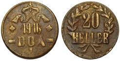 World Coins - German East Africa (Tanzania) . Brass 20 Heller 1916 T. Choice VF