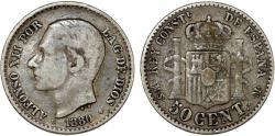 World Coins - Spain. Alfonso XII. AR 50 Centimes 1880. VF+