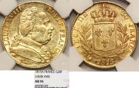 World Coins - France. king Louis XVIII., Second Gouvernement Royal, 1815-1824. Gold 20 Francs 1815A. NGC AU55
