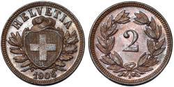 World Coins - Switzerland. Federation issue. AE 2 Rappen 1908 B. UNC