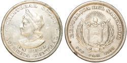 World Coins - Republic of El Salvador. Silver Peso 1895 CAM. About  XF