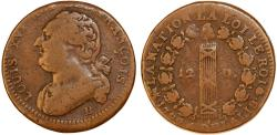 World Coins - France. King Louis XVI The Last (1774-1792). AE 12 Deniers 1793 B. Constitutional issue, VF