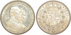 World Coins - Sweden. King Oscar II (1872-1907). Gold Wedding Anniversary. AR 2 Kronor 1907 EB. AU