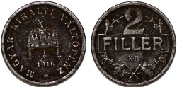 World Coins - Kingdom of Hungary. WWI Issue. Iron 2 Filler 1918 KB. VF