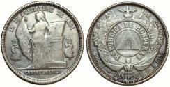 World Coins - Honduras. Republic. Scarce AR UN Peso 1892/9. VF+